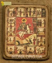 Ікона Св. Юрій Змієборець (з житєписом) 14 ст. - №16