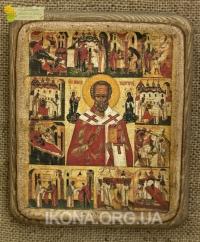 Ікона Св. Миколай Чудотворець (з житєписом), 17ст. - №15