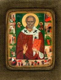 Ікона Святий Миколай з житієм 14ст. - № 159